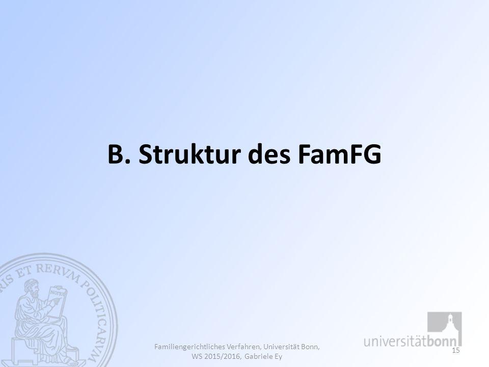 B. Struktur des FamFG Familiengerichtliches Verfahren, Universität Bonn, WS 2015/2016, Gabriele Ey
