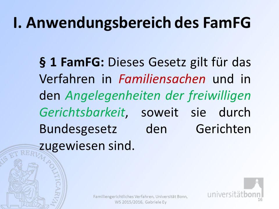 I. Anwendungsbereich des FamFG