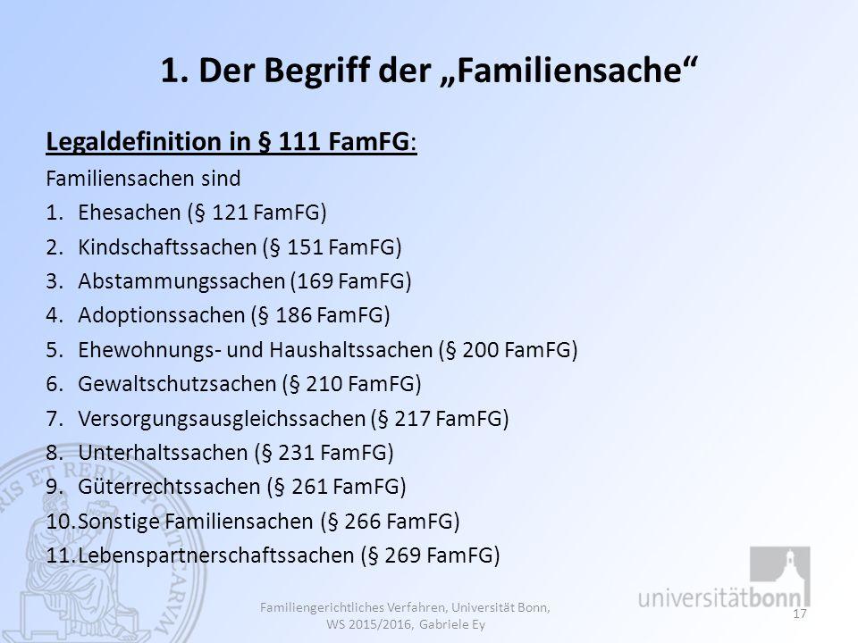 """1. Der Begriff der """"Familiensache"""