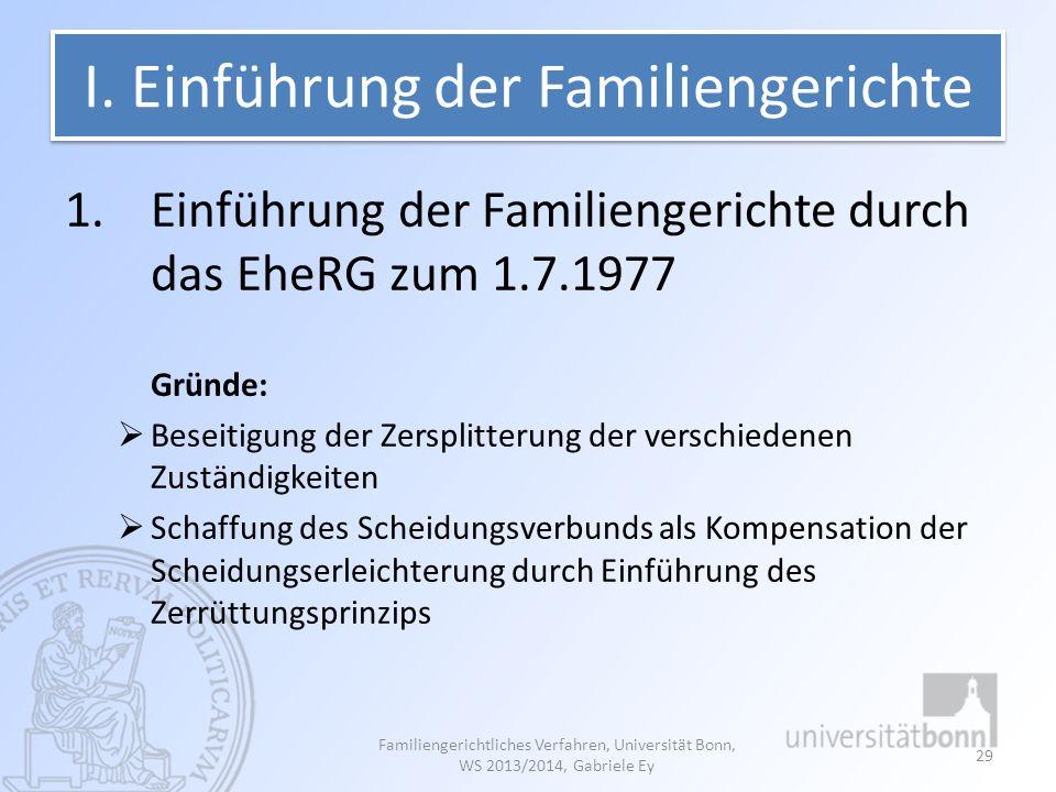 I. Einführung der Familiengerichte