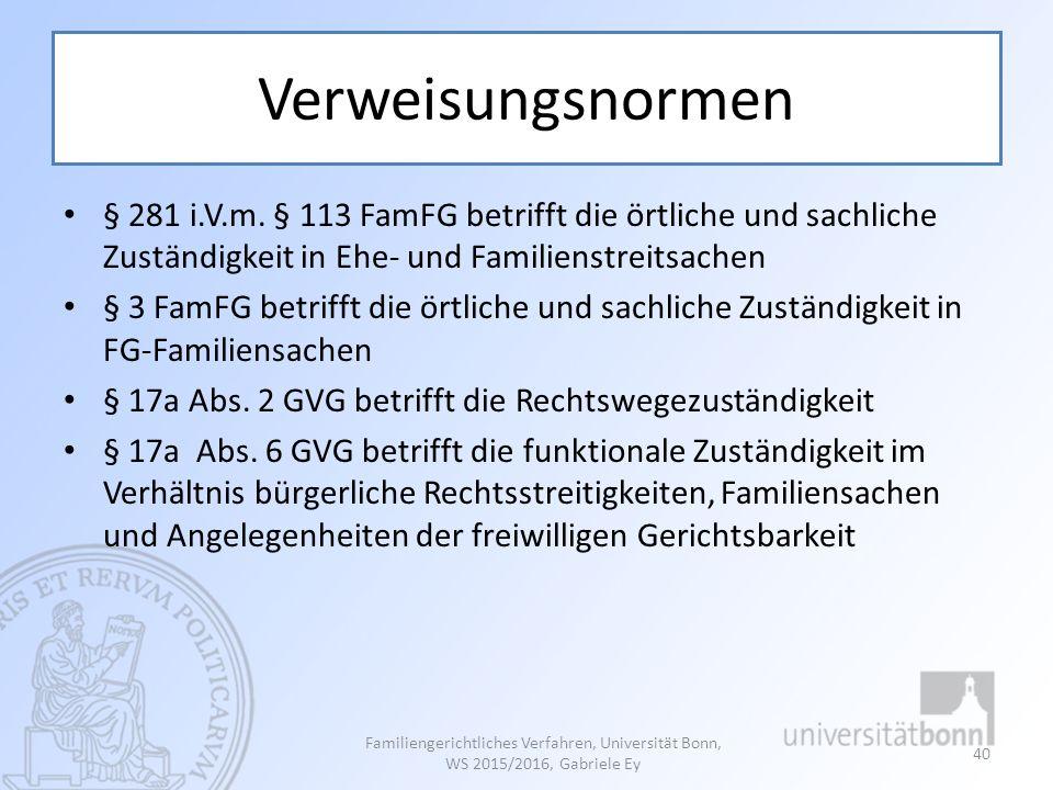 Verweisungsnormen § 281 i.V.m. § 113 FamFG betrifft die örtliche und sachliche Zuständigkeit in Ehe- und Familienstreitsachen.