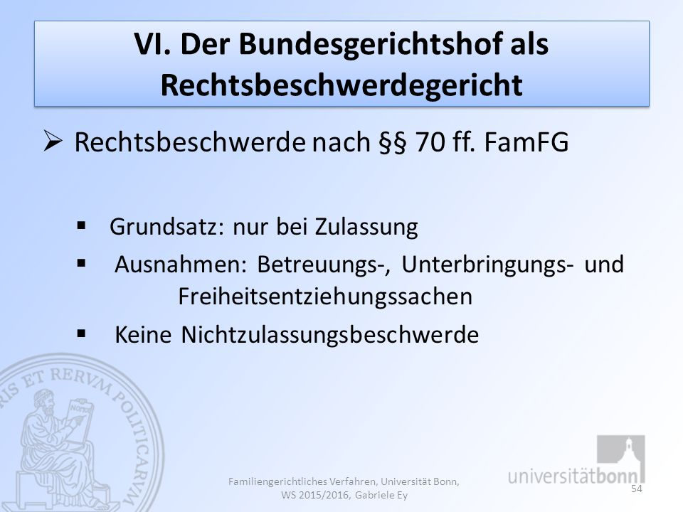 VI. Der Bundesgerichtshof als Rechtsbeschwerdegericht