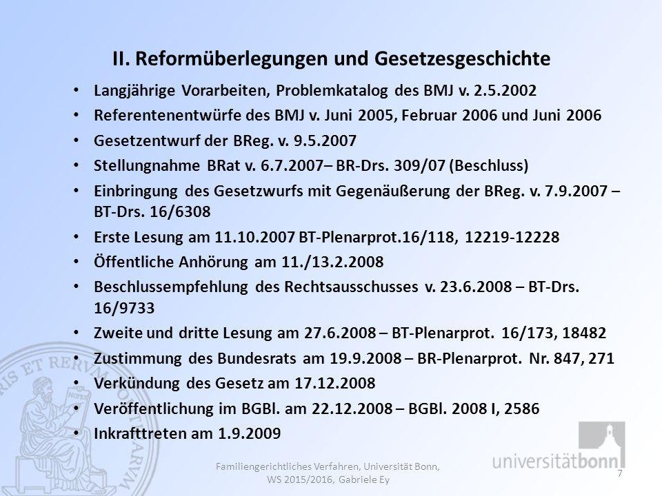II. Reformüberlegungen und Gesetzesgeschichte