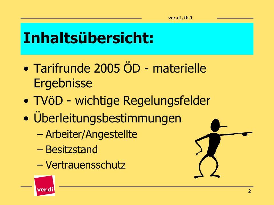 Inhaltsübersicht: Tarifrunde 2005 ÖD - materielle Ergebnisse