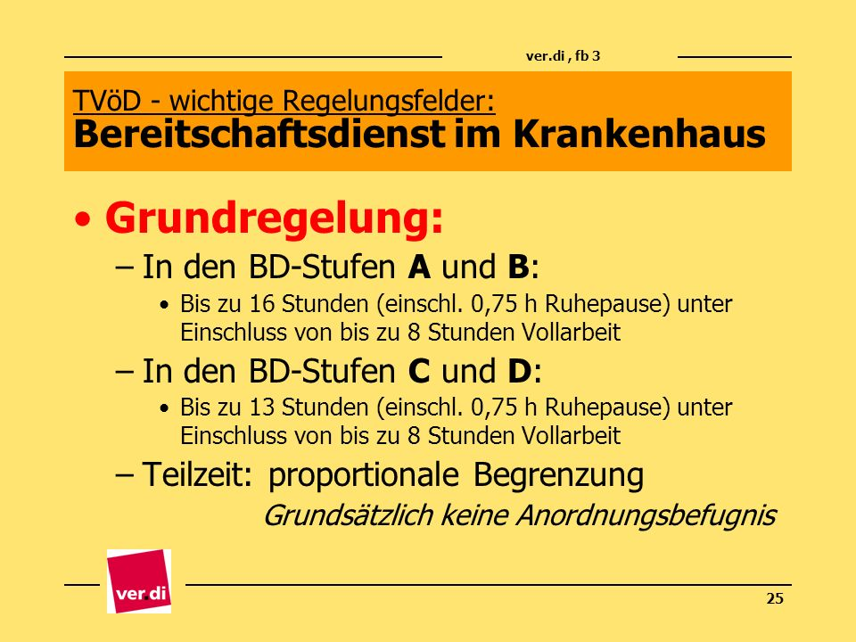 TVöD - wichtige Regelungsfelder: Bereitschaftsdienst im Krankenhaus