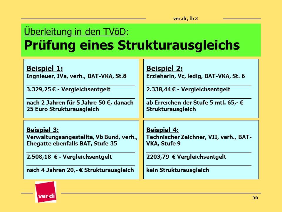 Überleitung in den TVöD: Prüfung eines Strukturausgleichs