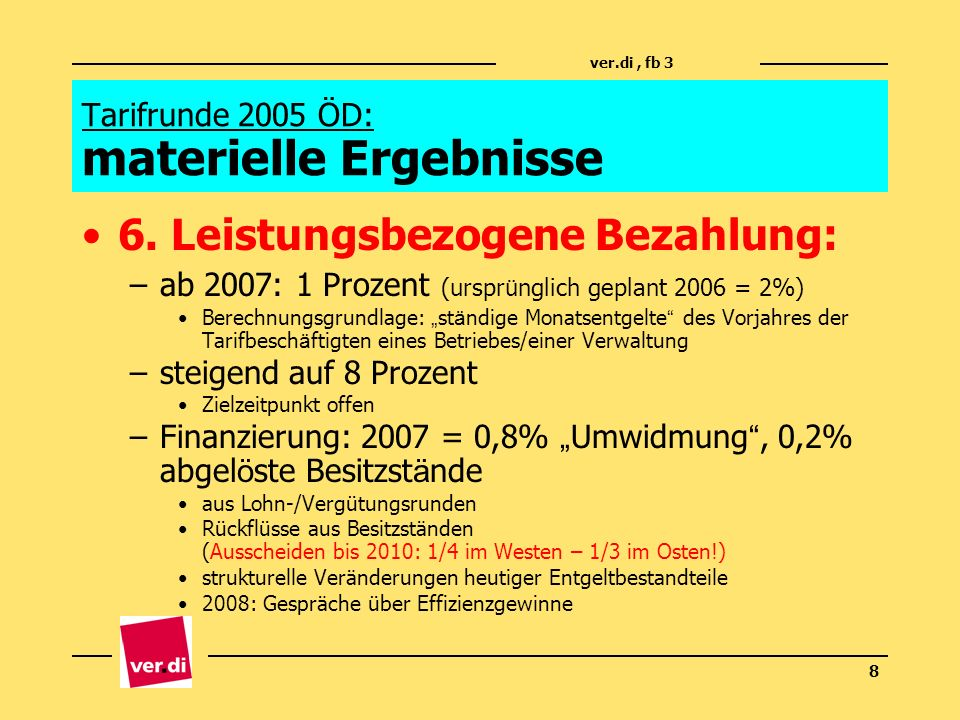 Tarifrunde 2005 ÖD: materielle Ergebnisse
