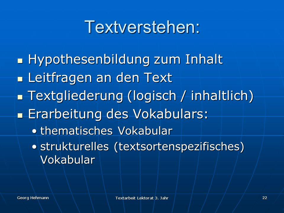 Textarbeit Lektorat 3. Jahr