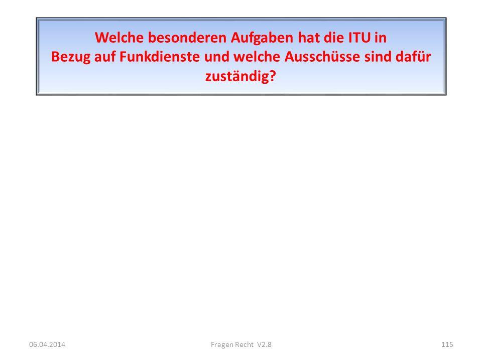Welche besonderen Aufgaben hat die ITU in Bezug auf Funkdienste und welche Ausschüsse sind dafür zuständig
