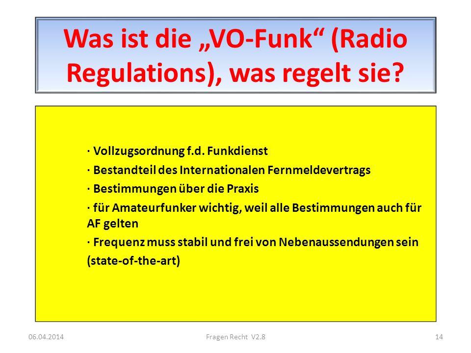 """Was ist die """"VO-Funk (Radio Regulations), was regelt sie"""