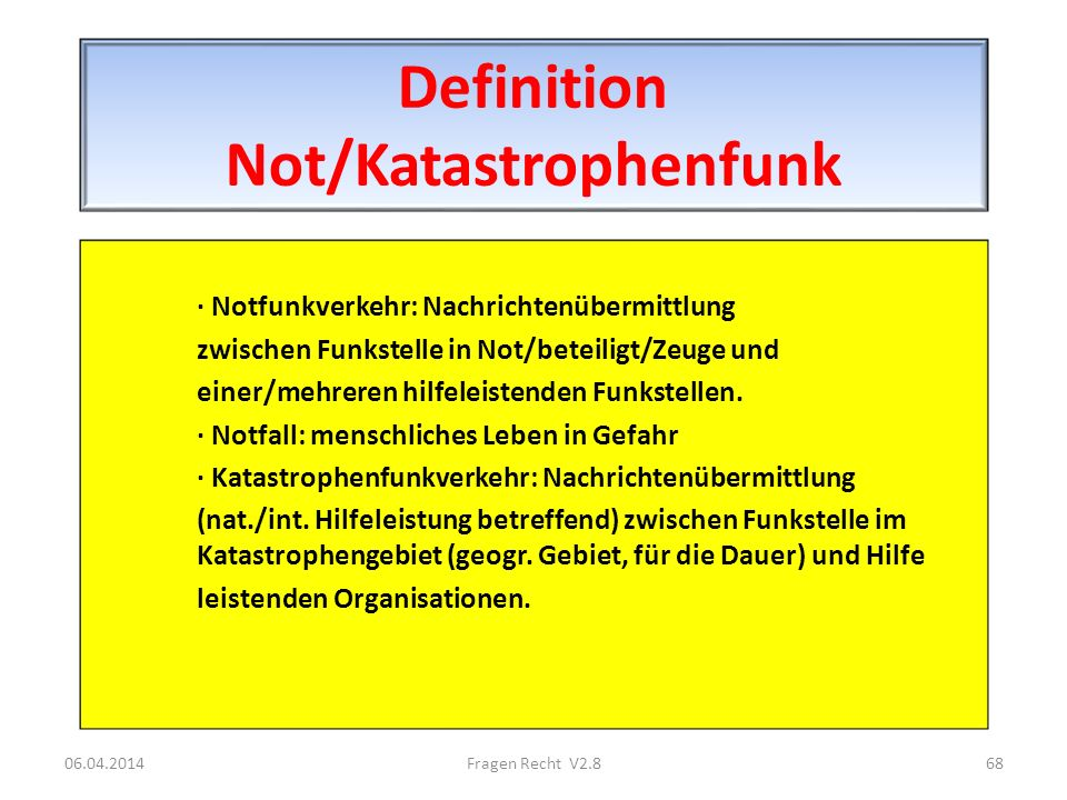 Definition Not/Katastrophenfunk