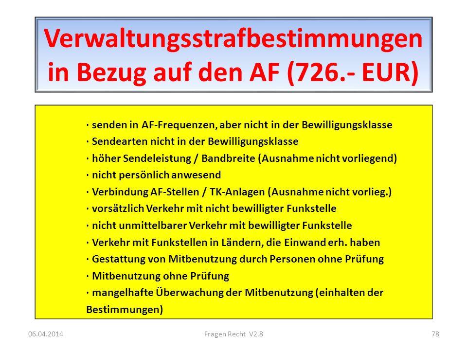 Verwaltungsstrafbestimmungen in Bezug auf den AF (726.- EUR)