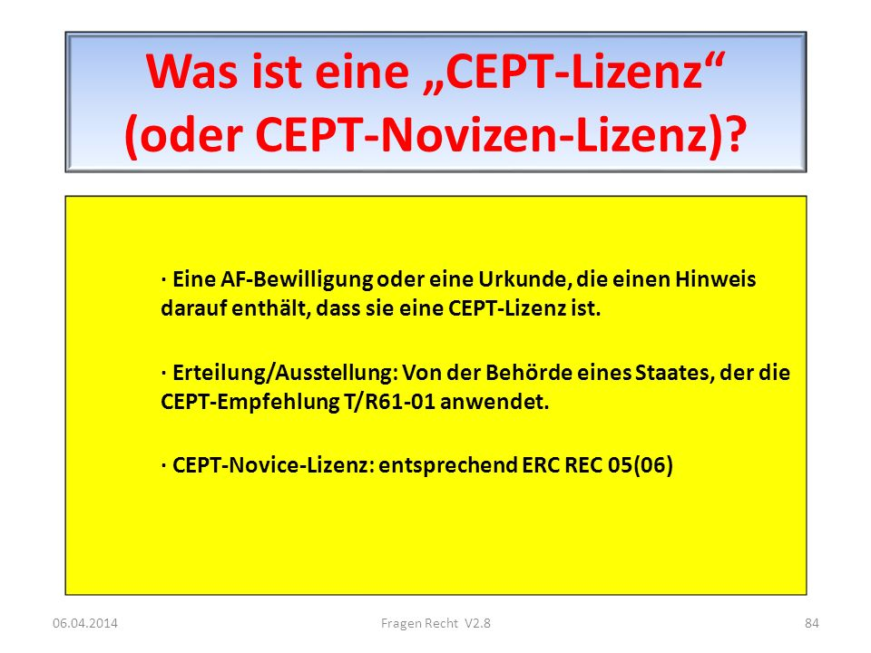 """Was ist eine """"CEPT-Lizenz (oder CEPT-Novizen-Lizenz)"""
