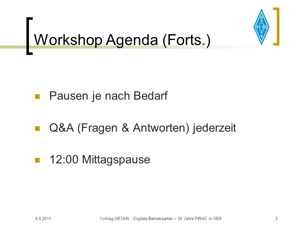 Workshop Agenda (Forts.)