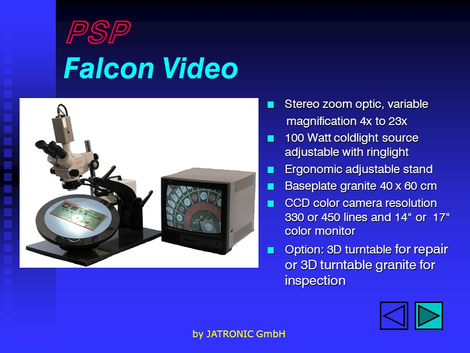 PSP Falcon Video Stereo zoom optic, variable magnification 4x to 23x