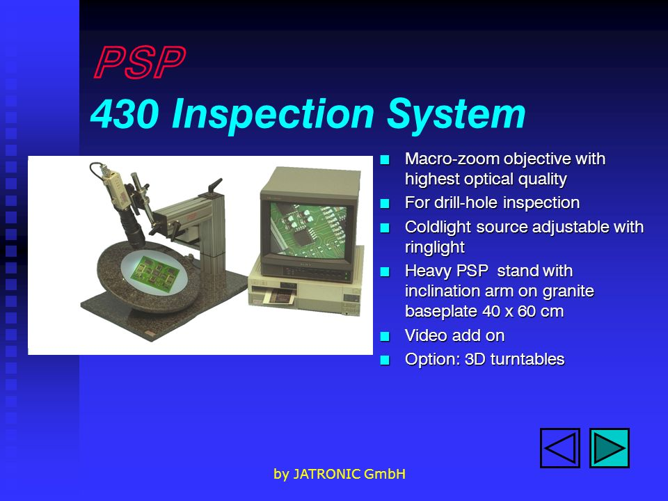 PSP 430 Inspection System Macro-zoom objective with highest optical quality. For drill-hole inspection.