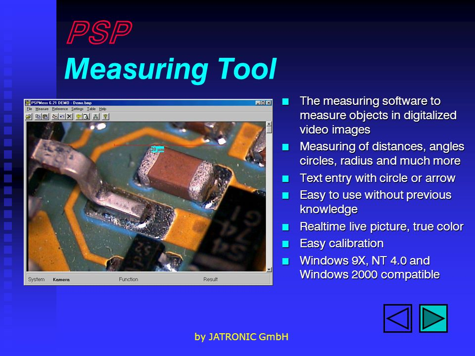 PSP Measuring Tool The measuring software to measure objects in digitalized video images.