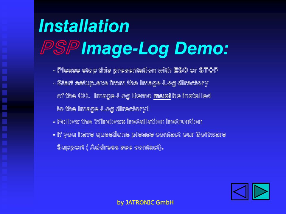 Installation PSP Image-Log Demo: