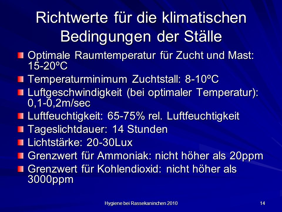 Richtwerte für die klimatischen Bedingungen der Ställe
