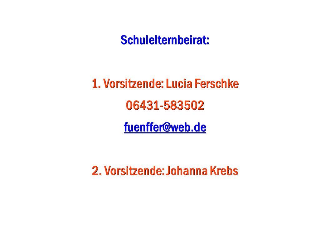 1. Vorsitzende: Lucia Ferschke 06431-583502 fuenffer@web.de