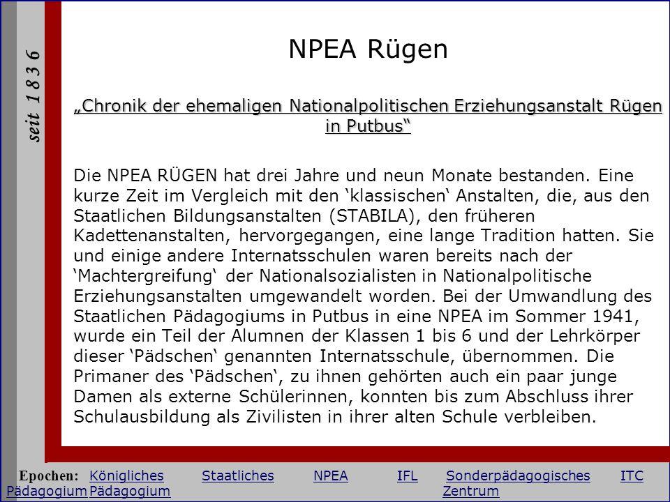 """NPEA Rügen """"Chronik der ehemaligen Nationalpolitischen Erziehungsanstalt Rügen in Putbus"""