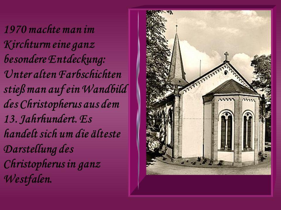 1970 machte man im Kirchturm eine ganz besondere Entdeckung: Unter alten Farbschichten stieß man auf ein Wandbild des Christopherus aus dem 13.