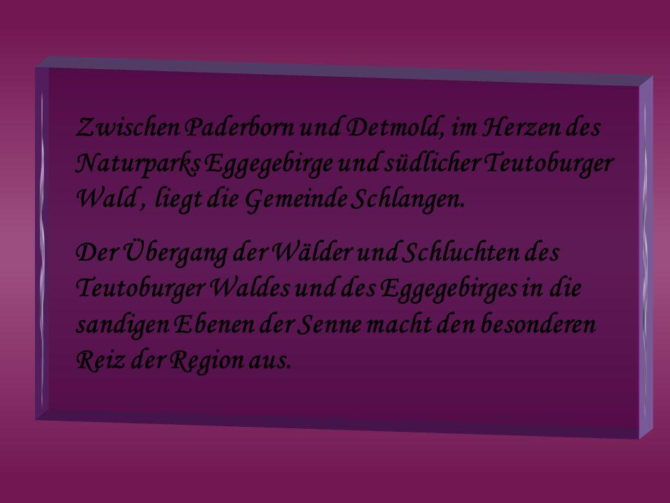 Zwischen Paderborn und Detmold, im Herzen des Naturparks Eggegebirge und südlicher Teutoburger Wald , liegt die Gemeinde Schlangen.