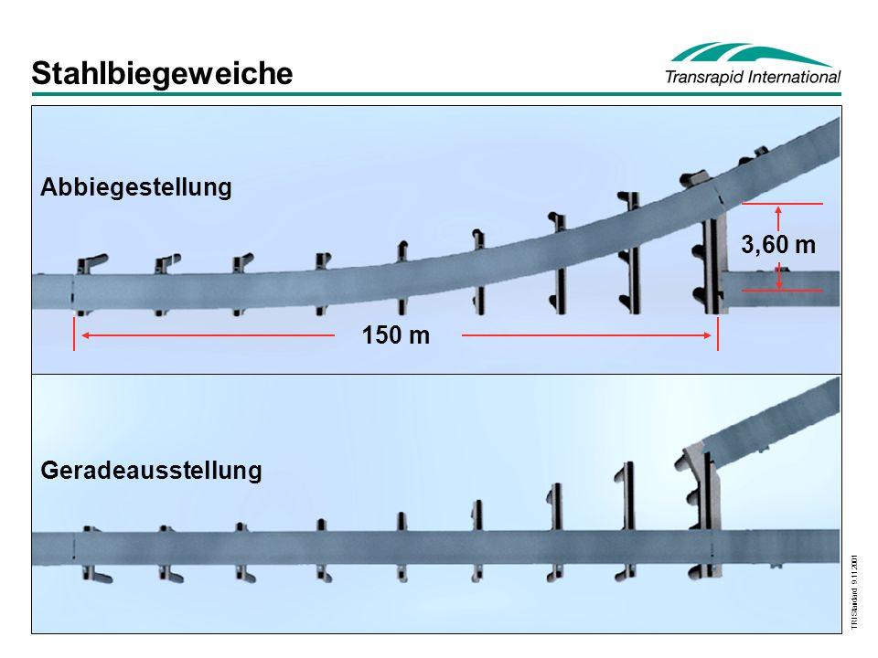 Stahlbiegeweiche Abbiegestellung 3,60 m 150 m Geradeausstellung
