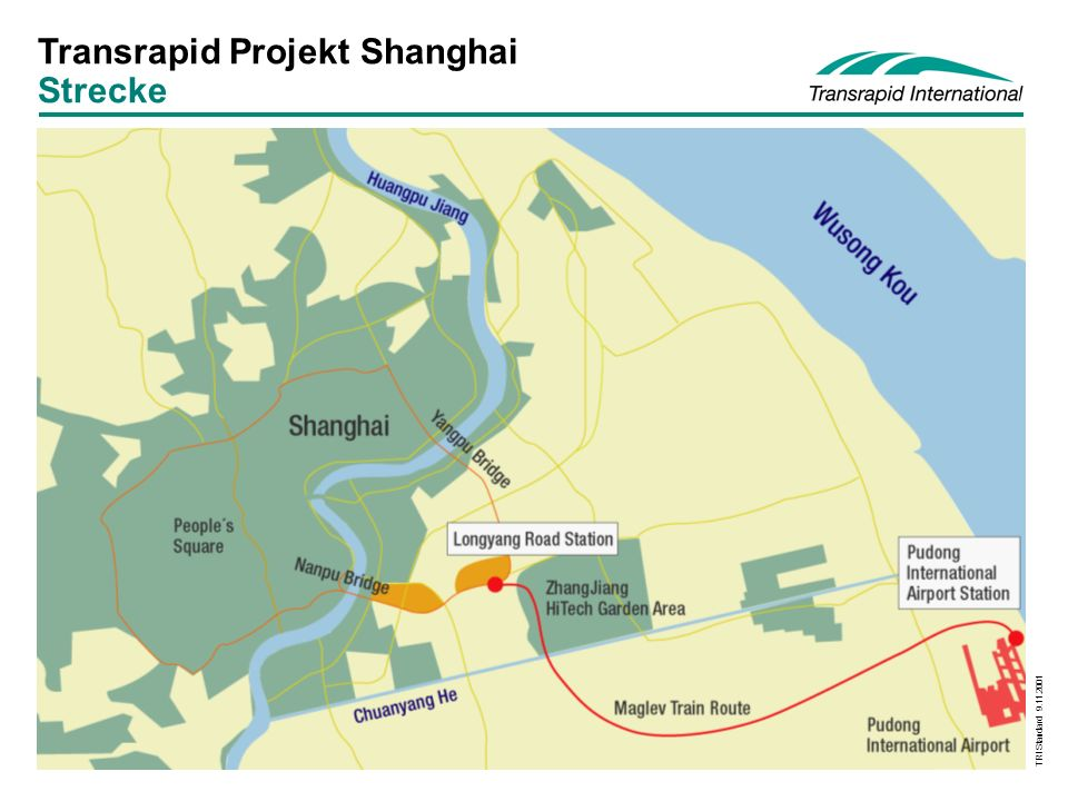 Transrapid Projekt Shanghai Strecke