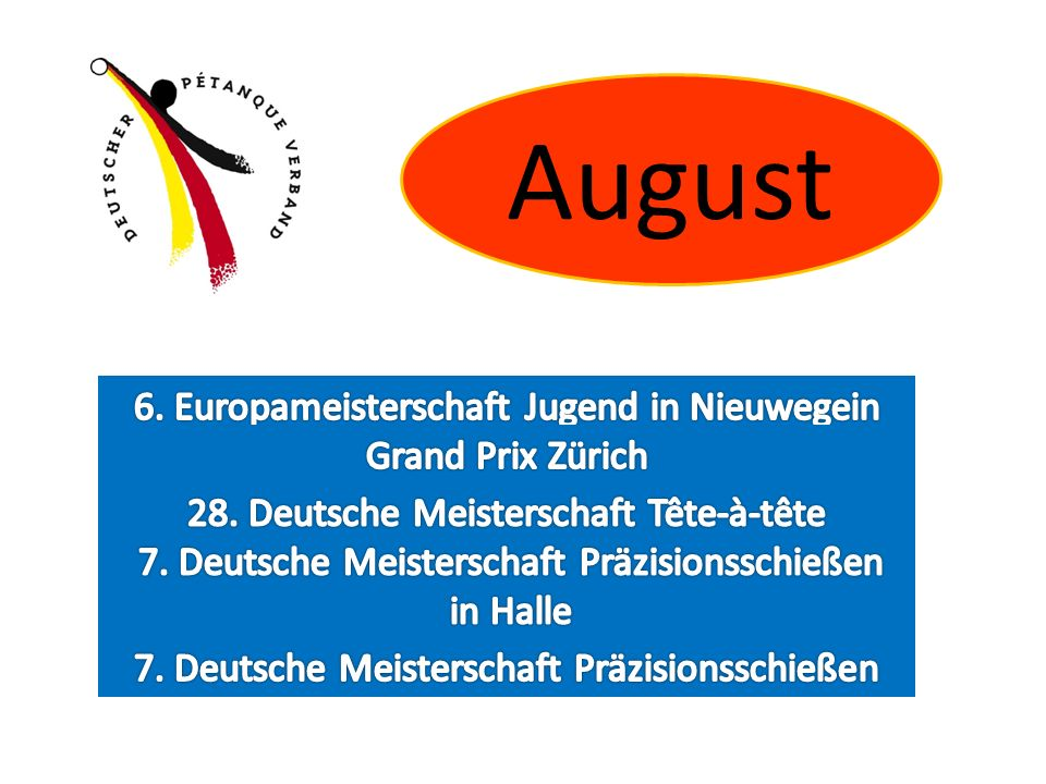 August 6. Europameisterschaft Jugend in Nieuwegein Grand Prix Zürich