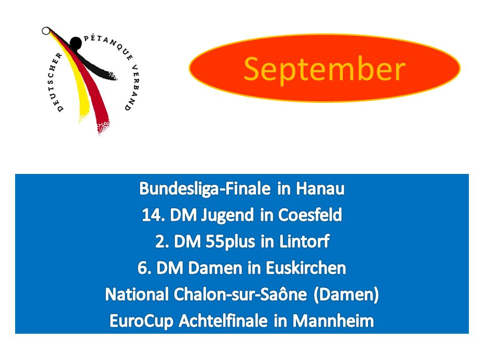 September Bundesliga-Finale in Hanau 14. DM Jugend in Coesfeld