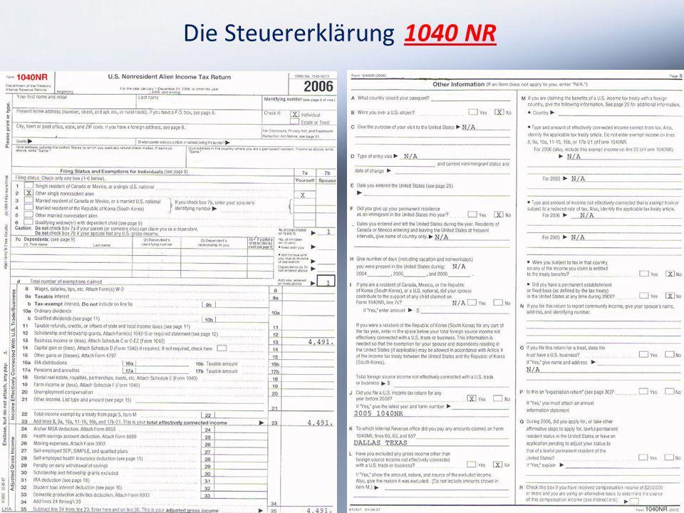 Die Steuererklärung 1040 NR