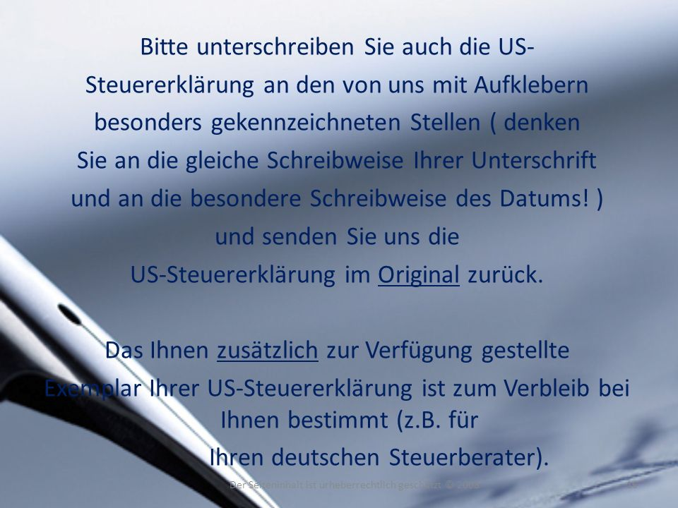 Bitte unterschreiben Sie auch die US-