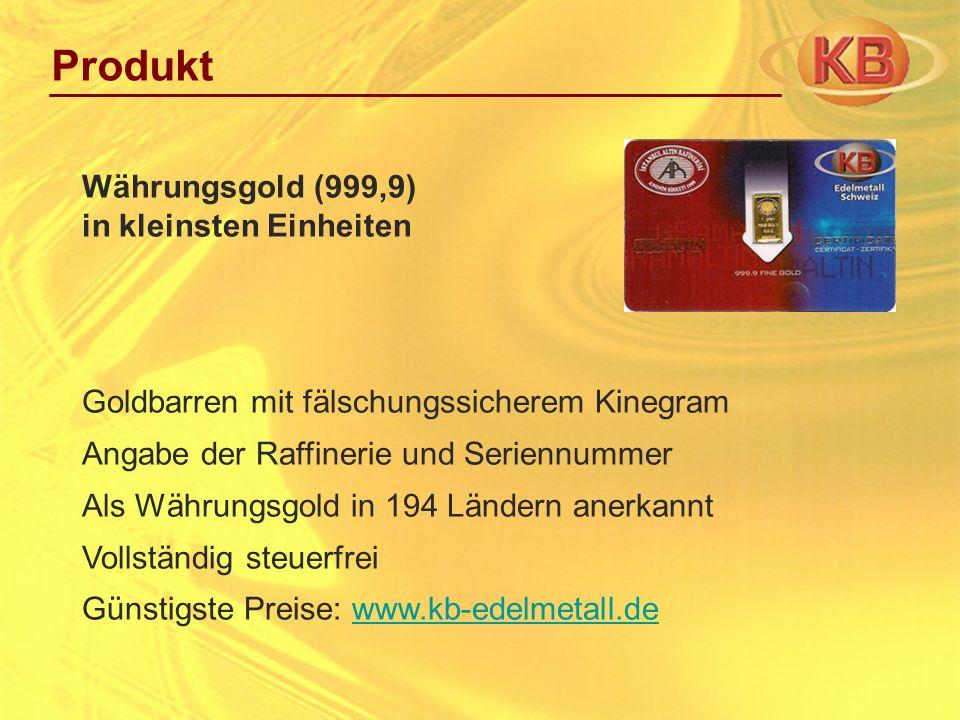 Produkt Währungsgold (999,9) in kleinsten Einheiten
