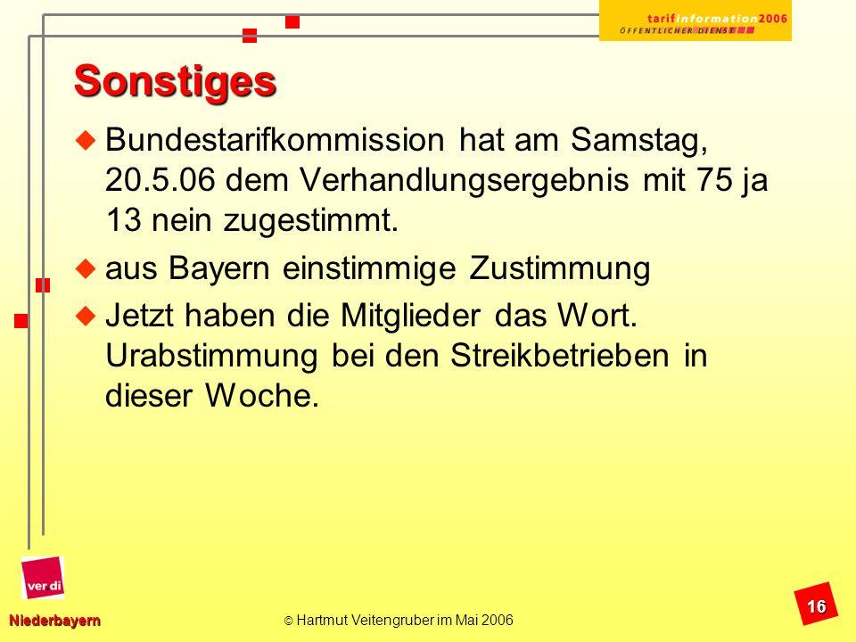 Sonstiges Bundestarifkommission hat am Samstag, 20.5.06 dem Verhandlungsergebnis mit 75 ja 13 nein zugestimmt.