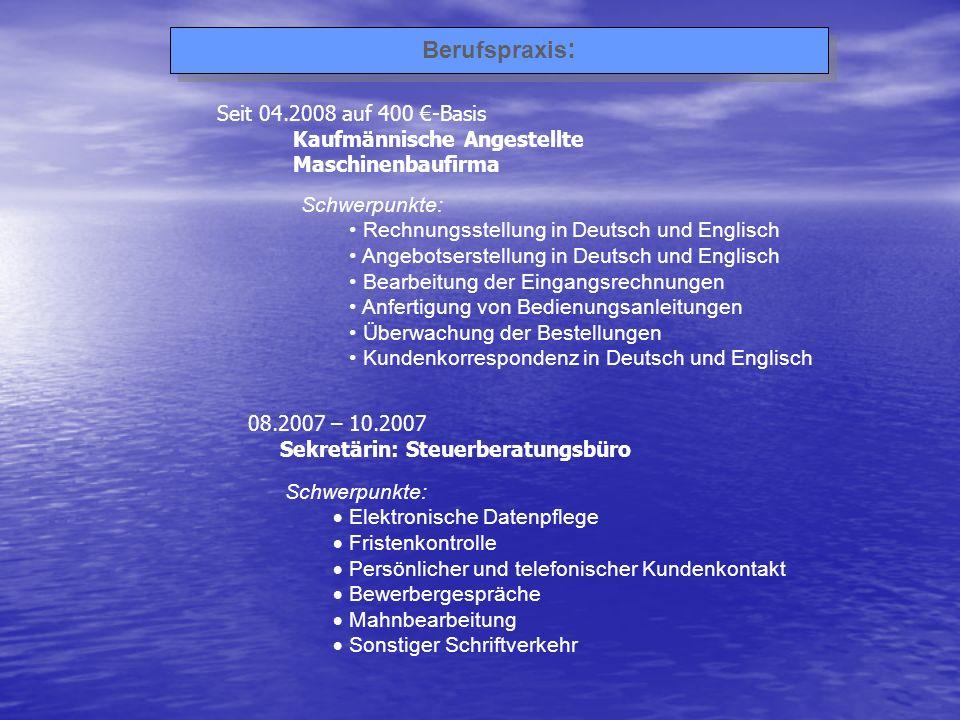 Berufspraxis: Seit 04.2008 auf 400 €-Basis Kaufmännische Angestellte