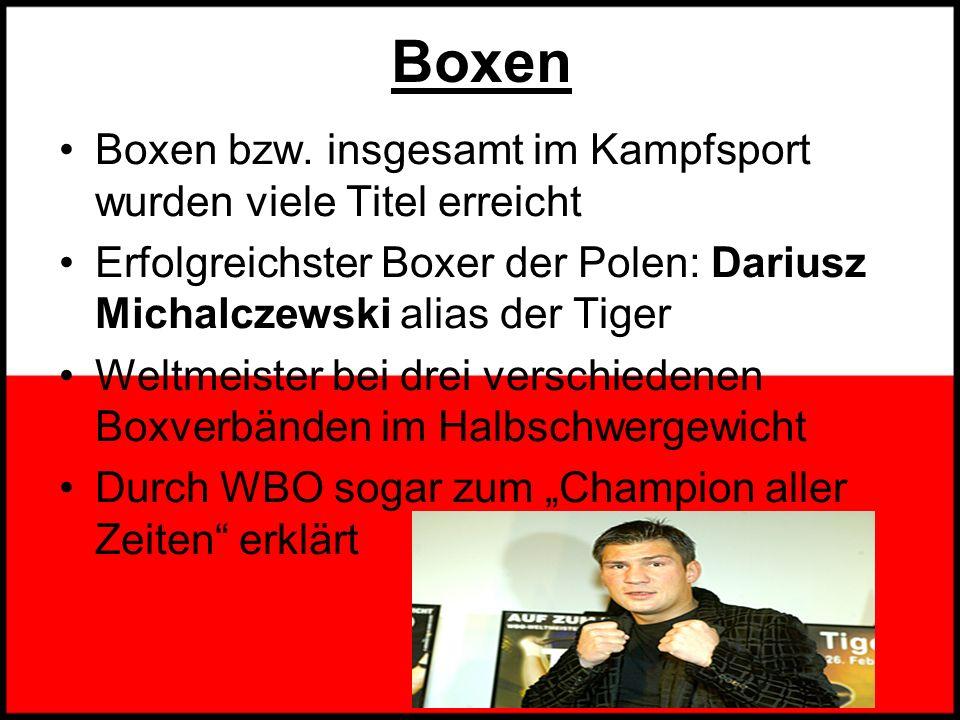Boxen Boxen bzw. insgesamt im Kampfsport wurden viele Titel erreicht