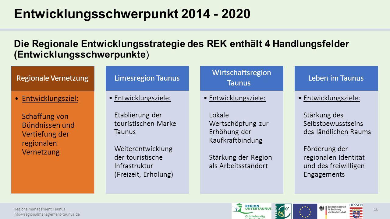 Entwicklungsschwerpunkt 2014 - 2020