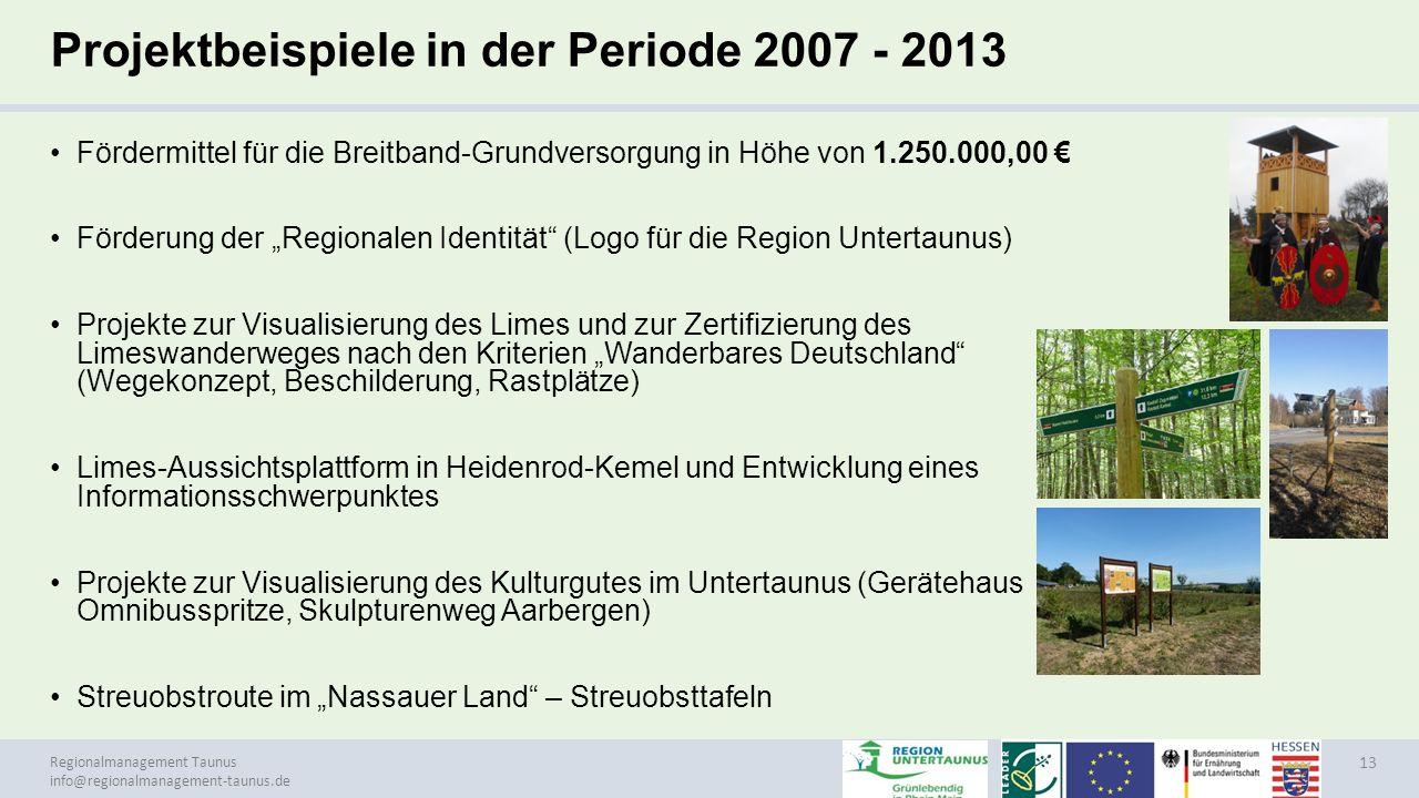 Projektbeispiele in der Periode 2007 - 2013