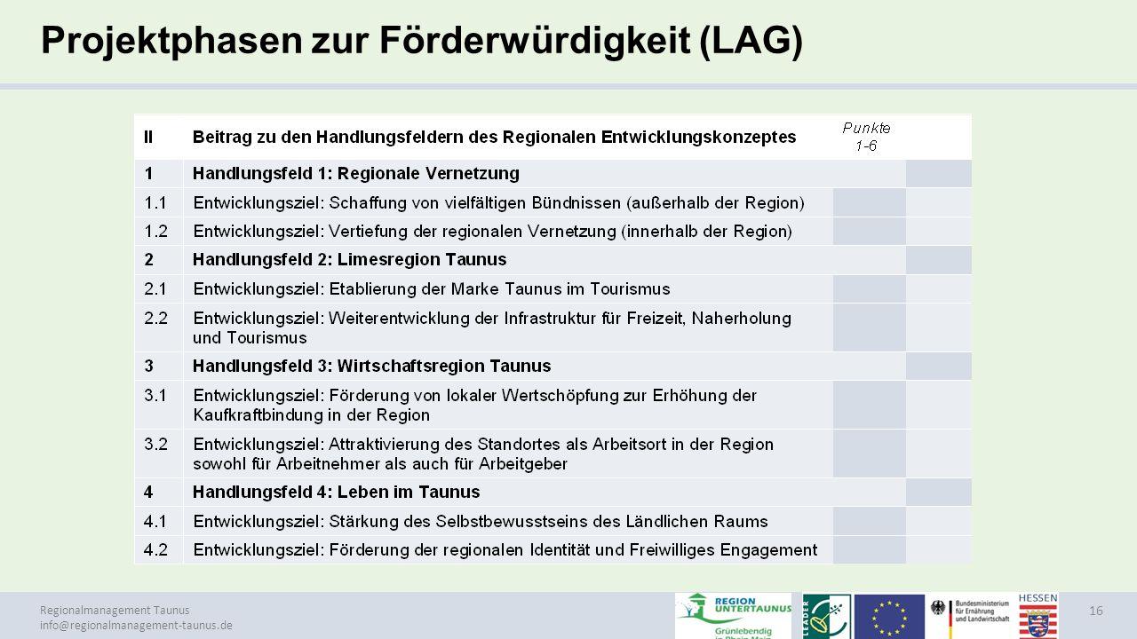 Projektphasen zur Förderwürdigkeit (LAG)