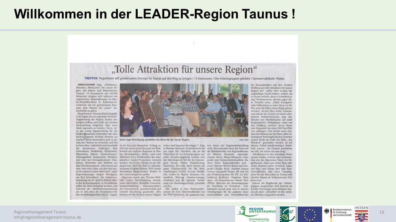 Willkommen in der LEADER-Region Taunus !