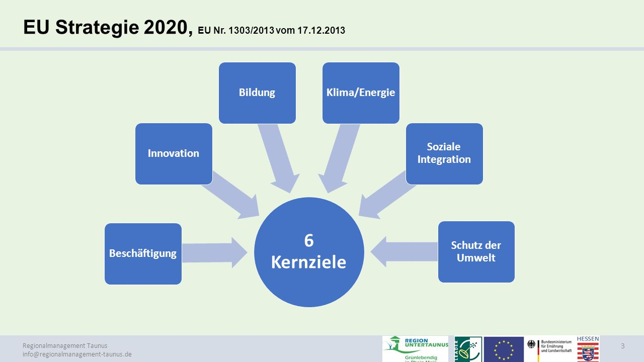 EU Strategie 2020, EU Nr. 1303/2013 vom 17.12.2013 6 Kernziele