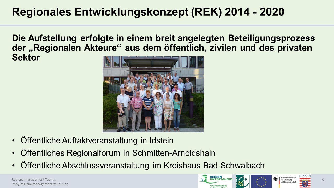 Regionales Entwicklungskonzept (REK) 2014 - 2020
