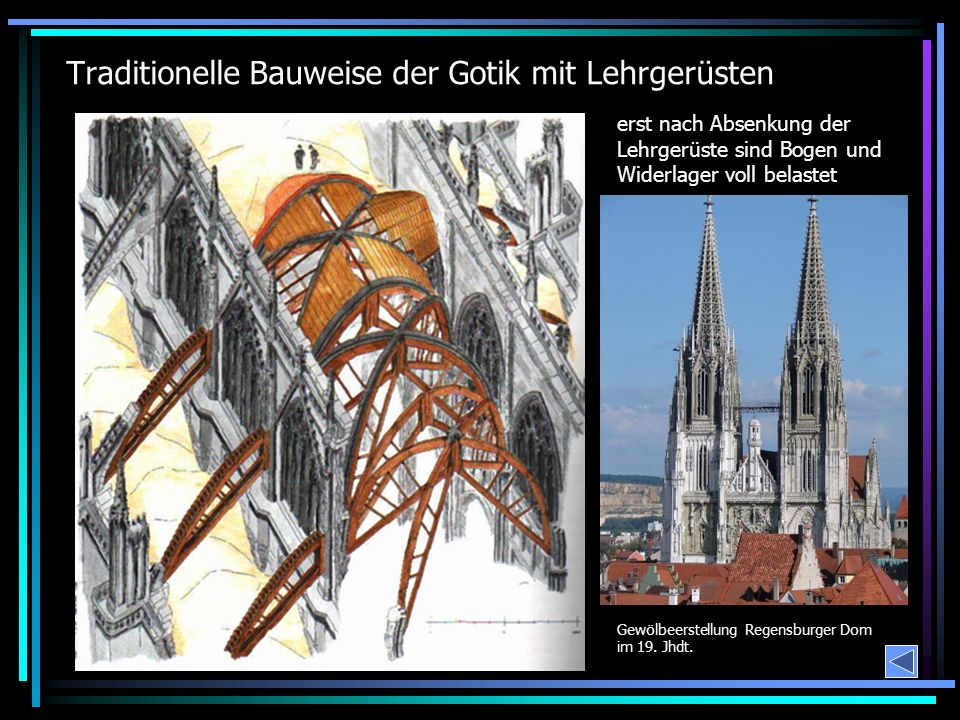 Traditionelle Bauweise der Gotik mit Lehrgerüsten