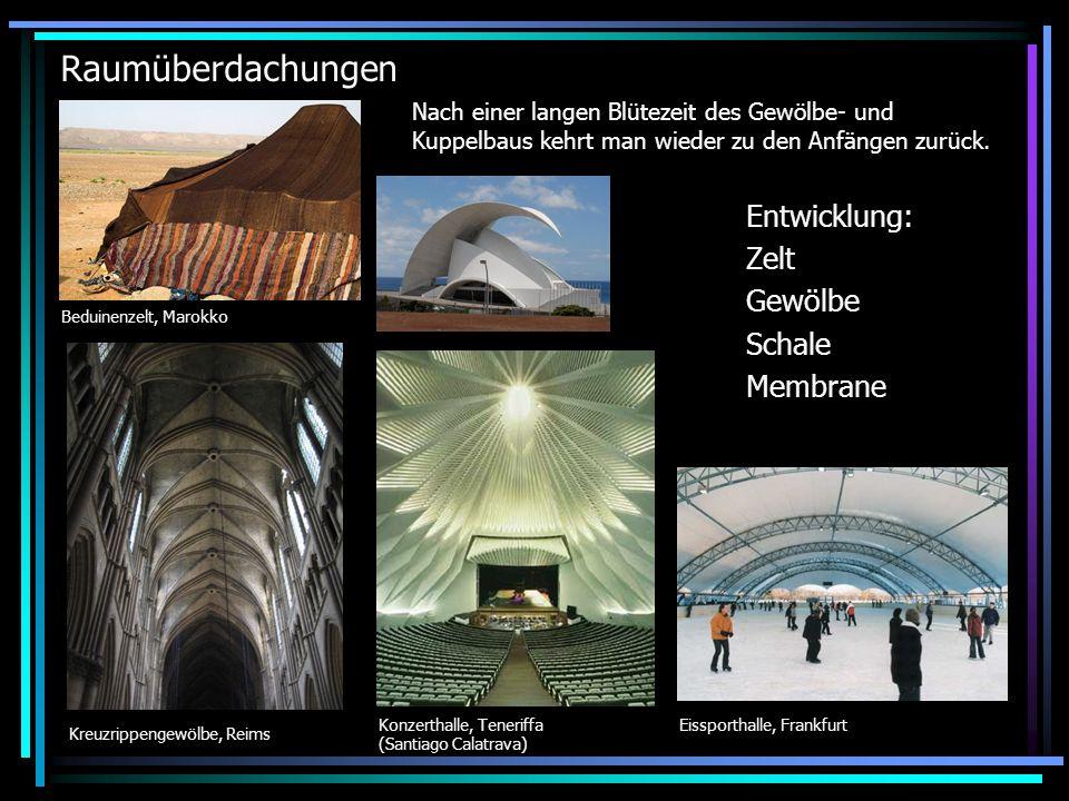 Raumüberdachungen Entwicklung: Zelt Gewölbe Schale Membrane
