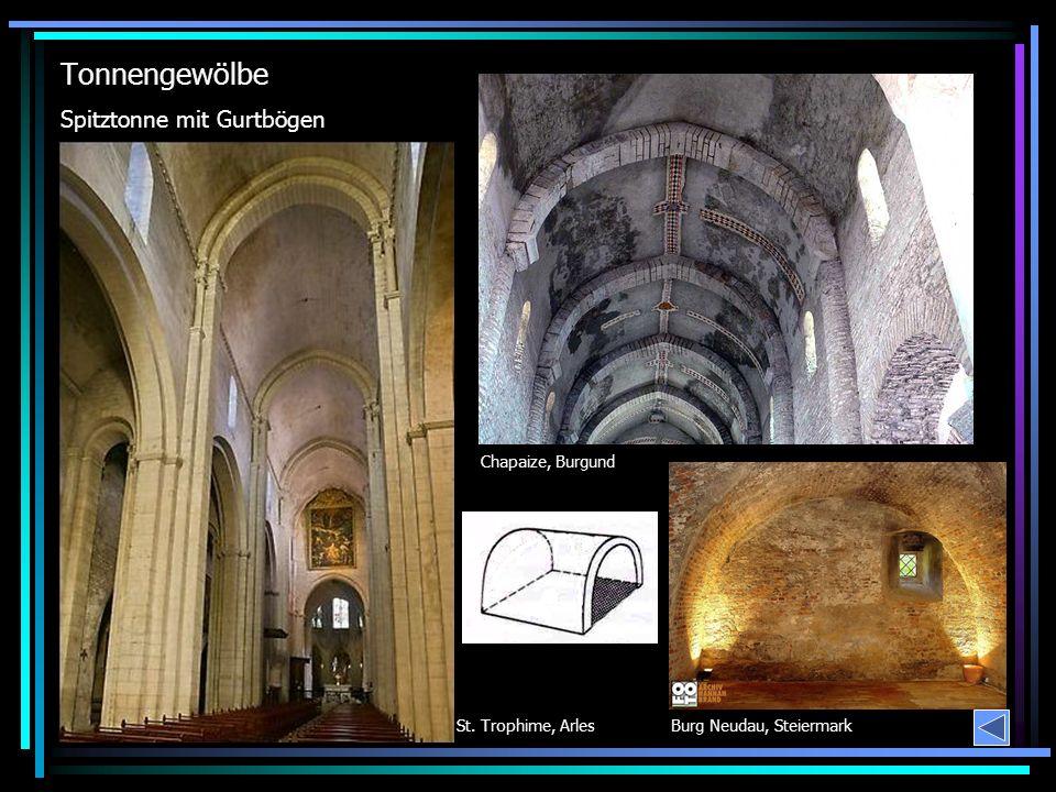 Tonnengewölbe Spitztonne mit Gurtbögen Chapaize, Burgund