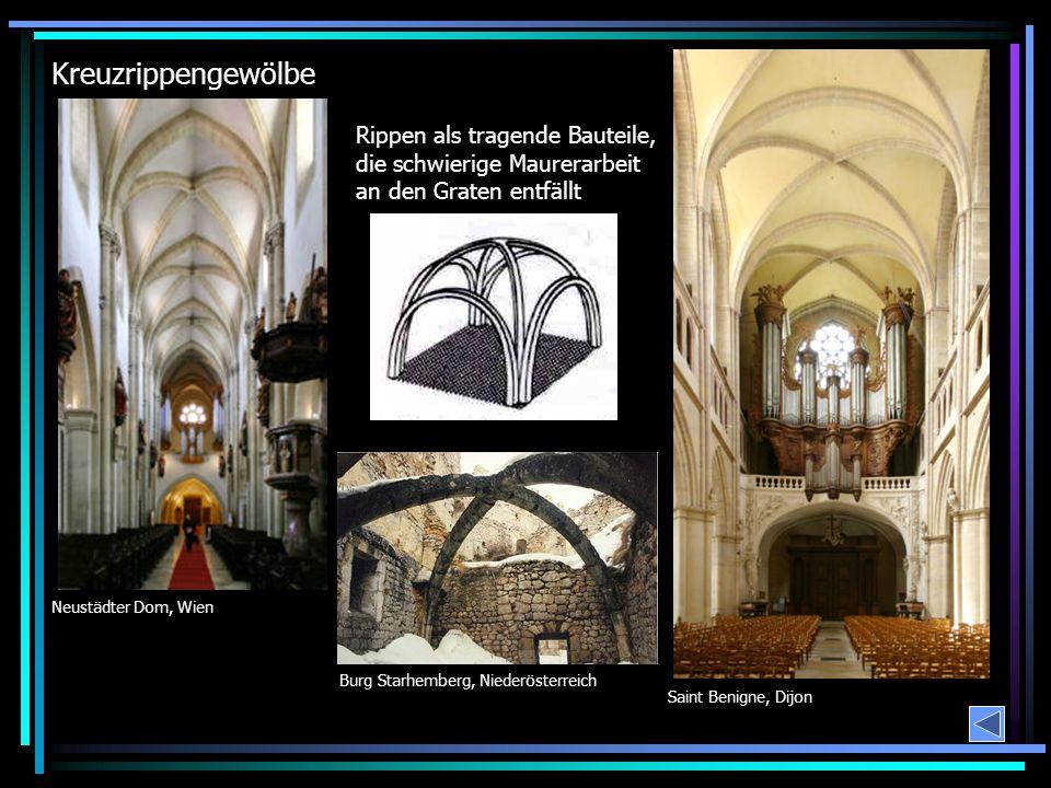 Kreuzrippengewölbe Rippen als tragende Bauteile, die schwierige Maurerarbeit an den Graten entfällt.