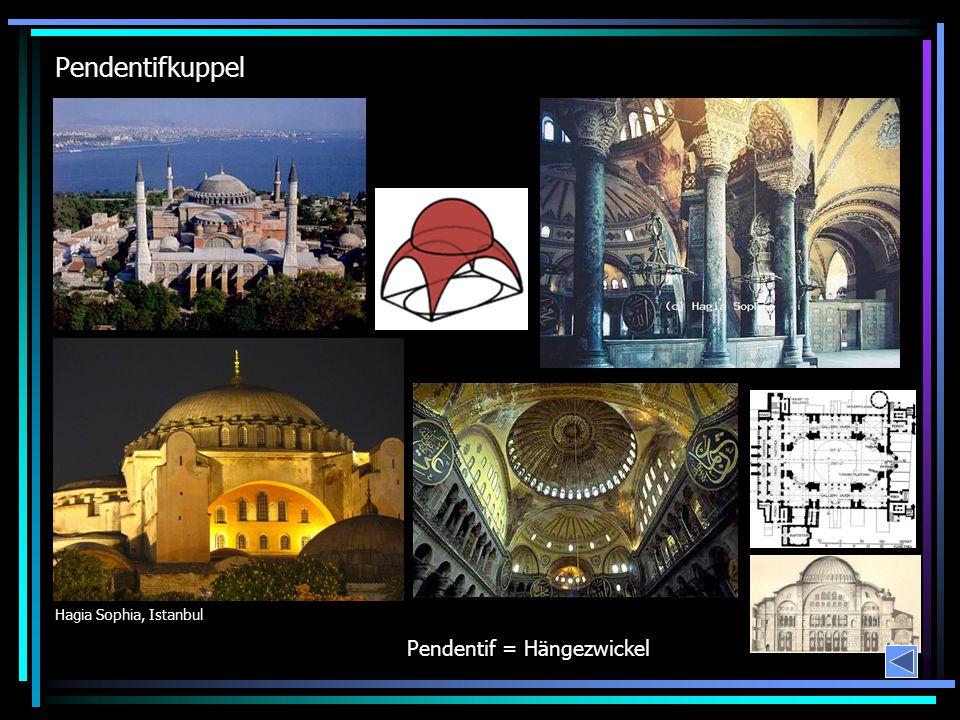 Pendentifkuppel Hagia Sophia, Istanbul Pendentif = Hängezwickel