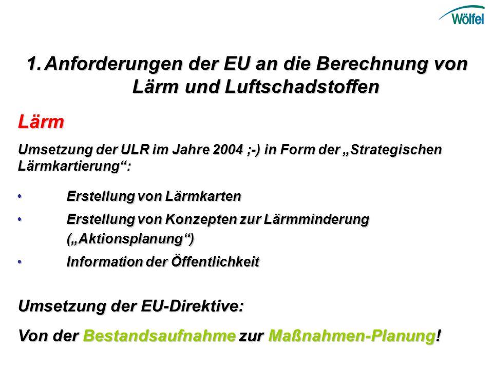 Anforderungen der EU an die Berechnung von Lärm und Luftschadstoffen