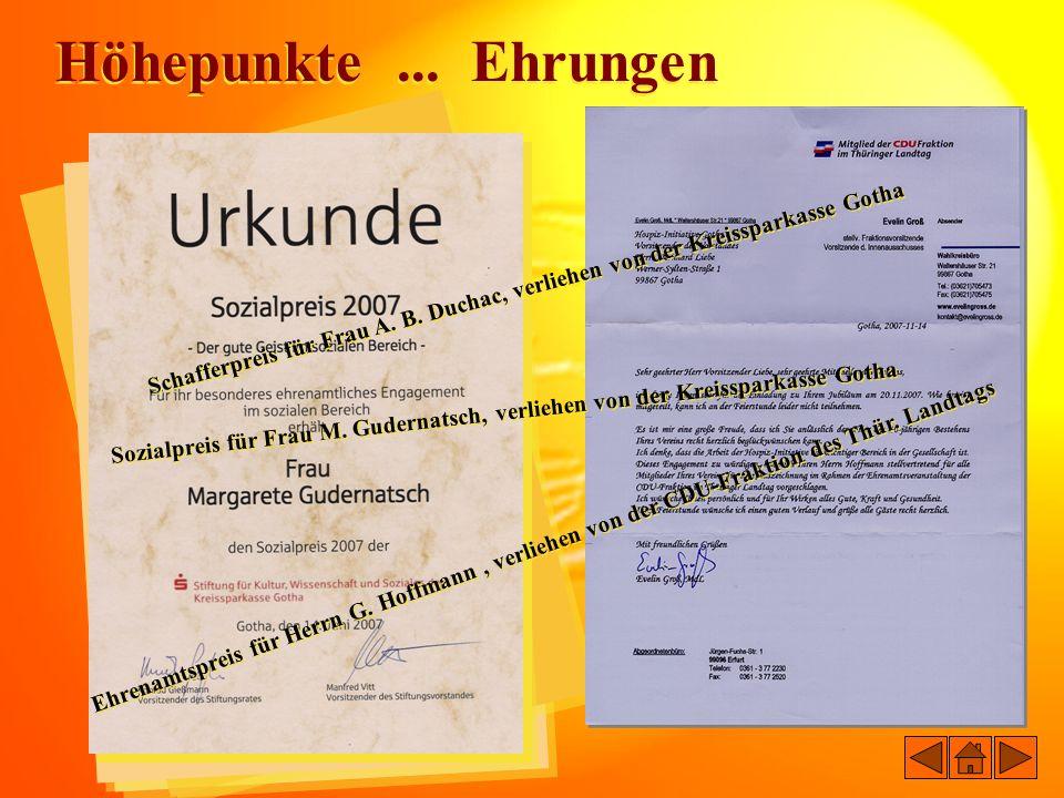 Höhepunkte ... Ehrungen Schafferpreis für Frau A. B. Duchac, verliehen von der Kreissparkasse Gotha.